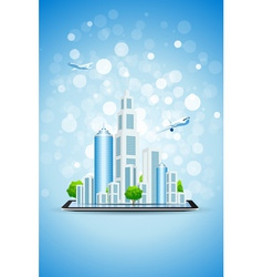 Blue Background with Business City on Tablet Compu vector image