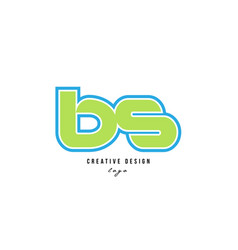 Blue green alphabet letter bs b s logo icon design vector