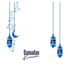 Blue hangning lantern with creative ramadan vector