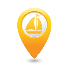 Boat icon on map pointer yellow vector