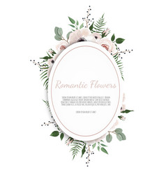 Botanic card with wild flowers leaves spring vector