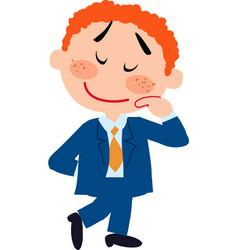 boy dressed like a businessman shy vector image