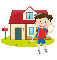 boy staying at home vector image