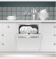 build-in dishwasher vector image