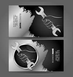 Business card wrench in hand for repair vector