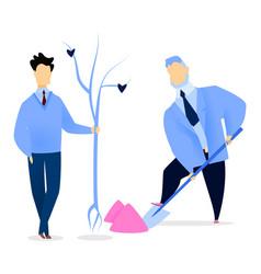 businessman digging soil for seedling tree vector image