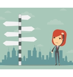 Businesswoman in front of a choice vector image