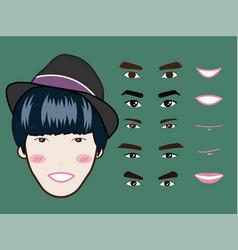 cartoon character pack facial emotions design vector image