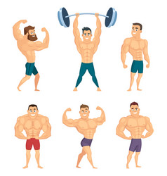Cartoon characters of strong and muscular vector