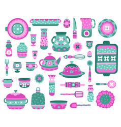 Cartoon kitchen dishes ceramic crockery dishes vector