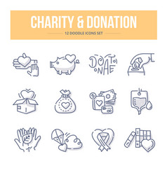 Charity donation doodle icons vector