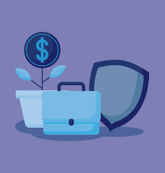 coins plant with set icons economy finance vector image