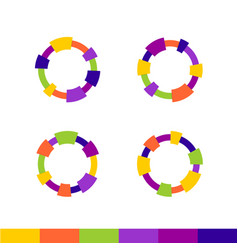 Colorful abstract round frames set technical or vector