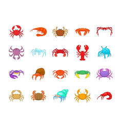 Crab icon set cartoon style vector