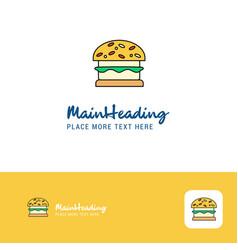 creative burger logo design flat color logo place vector image