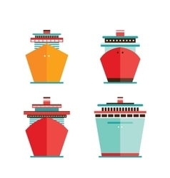 Cruise liner ship icon set Sea Ocean travel vector