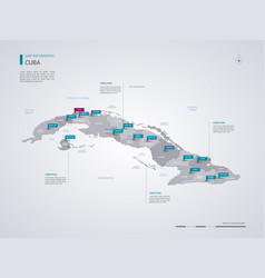 Cuba map with infographic elements pointer marks vector