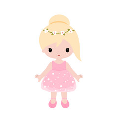 cute baballerina in pink dress clipart vector image