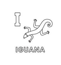 cute cartoon animals alphabet iguana vector image