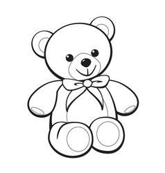 Cute cartoon teddy bear coloring book image vector