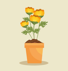 Cute flower in pot icon vector