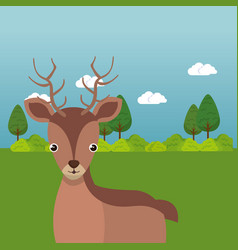 Cute reindeer in the field landscape character vector