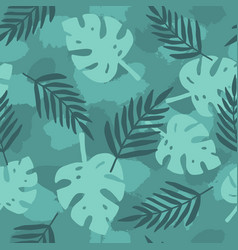 Dark green tropical leafs background vector