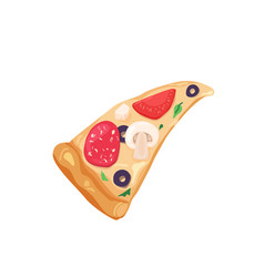 Delicious slice pizza with cheese olives vector