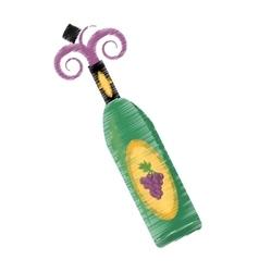 drawing wine bottle grape elegance drink bar vector image