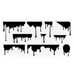 Dripping ink melting paint liquid drops black vector