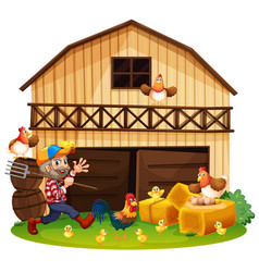 farmer and chickens in the farm vector image vector image