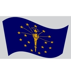 Flag of Indiana waving on gray background vector
