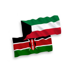 Flags kenya and kuwait on a white background vector
