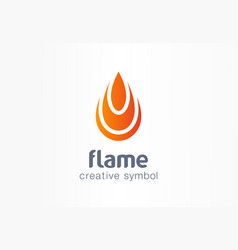 Flame creative symbol concept fire energy in drop vector
