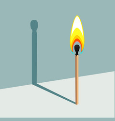 Flame has no shadow burning match and its shadow vector