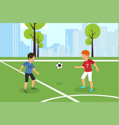 flat red against blue kids football team vector image