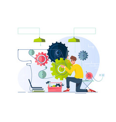 Flat young man repair and fine-tune gears vector