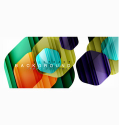 glossy color hexagons modern composition vector image