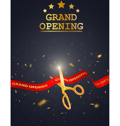 grand opening card design with red ribbon vector image