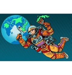 Green Earth day ecology astronaut vector