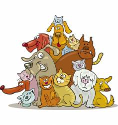 Group of cats and dogs vector
