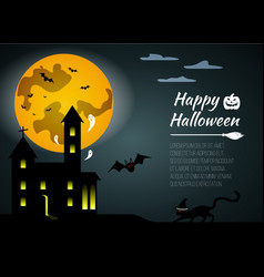 halloween black castle on yellow moon background vector image