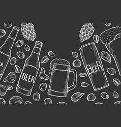 Hand drawn beer set vector