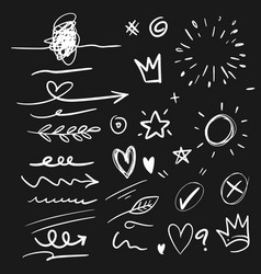 Hand drawn set elements arrow heart love vector