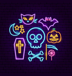 happy halloween neon concept vector image