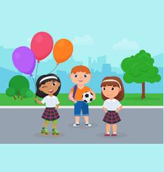Happy kid friends in school uniform stand together vector