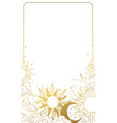Heavenly modern card with golden sun and moon vector