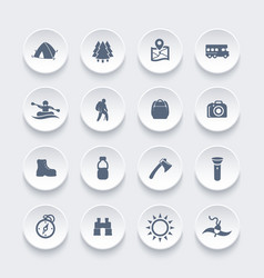 Hiking camping outdoor activities icons vector