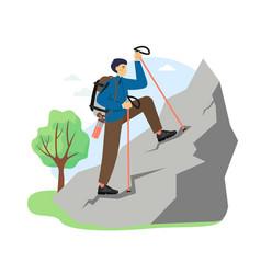 hiking scene flat climber vector image