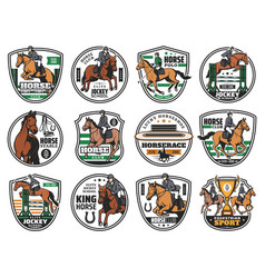 Horse racing equestrian rides jockey polo club vector